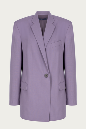 Load image into Gallery viewer, _GetTheLook, _related:lp-cutout-bodycon-dress, blazer, boyfriend jacket, Clothing, coat, jacket, Jackets & Coats, leightweight, lilac, matching, Matching Set, Matching Sets, Matching suit, matching suit blazer, New Arrivals, oversized blazer, oversized jacket, purple, single breasted, single button, single button closure, Special Events, Spring Separates, suit blazer, suit jacket, summer blazer, summer suit, wool, wool blazer, Zeynep  arcay