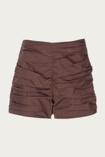 _GetTheLook, _related:oversized-crop-top, Beach Vacation, Bottoms, brown, camel brown, chocolate brown, Clothing, coffee brown, dark brown, Everyday Essentials, light brown, Matching Set, Matching Sets, melange brown, mini shorts, mocha brown, New Arrivals, ruched, ruched short, ruched shorts, ruching, ruching shorts, sand brown, Shorts, Special Events, Spring Separates, tobacco brown, Zeynep  arcay