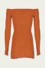 Beach Vacation, burnt orange, Clothing, cold shoulder, dark orange, Dresses, Everyday Essentials, form fitting, knit, lace, long sleeves, Mini dress, mini dresses, New Arrivals, off the shoulder, orange, ribbed, short dress, Special Events, Spring Separates, stretch, stretch polyester, stretchy, viscose, Zeynep  arcay