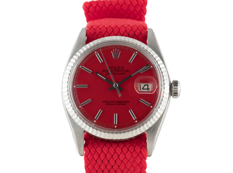 "1972 Rolex DATEJUST 1601 SS with Glossy ""Stella"" Red Dial"