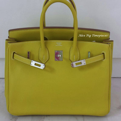 BRAND NEW Hermes Birkin 25 Lime Colour Q Stamp Full Set