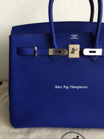 BRAND NEW Hermes Birkin 35 Blue Electric Colour Q Stamp Full Set