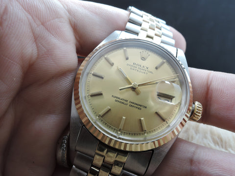 1971 Rolex DATEJUST 1601 2-Tone SS/Gold ORIGINAL Gold Dial with Jubilee