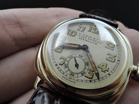 [1937] Rolex OYSTER 9k Yellow Gold Cushion Case with Yellowish Arabic Dial