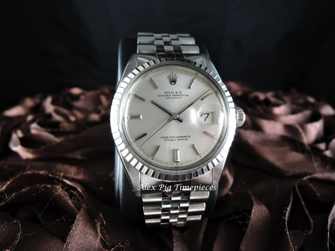 Rolex DATEJUST 1603 SS ORIGINAL Silver Dial with Thick Jubilee Band