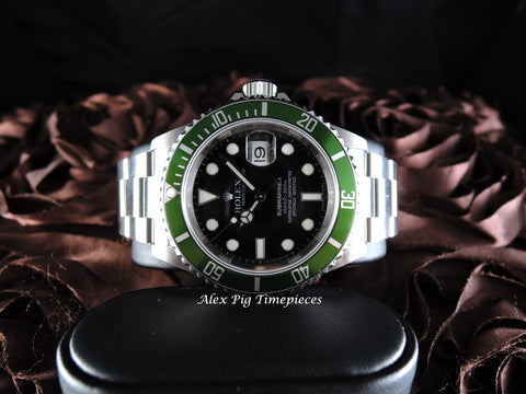 2007 Rolex SUBMARINER 16610LV Green Bezel with Box and PAPER Like New