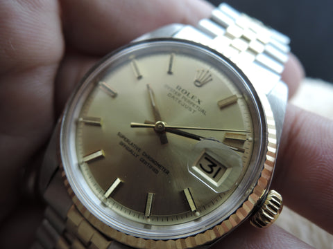 1973 Rolex DATEJUST 1601 2-Tone SS/Gold ORIGINAL Gold Dial with Paper