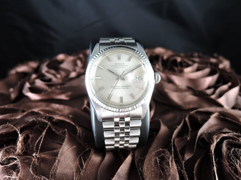1970 Rolex DATEJUST 1601 SS ORIGINAL Silver Dial with Solid Jubilee