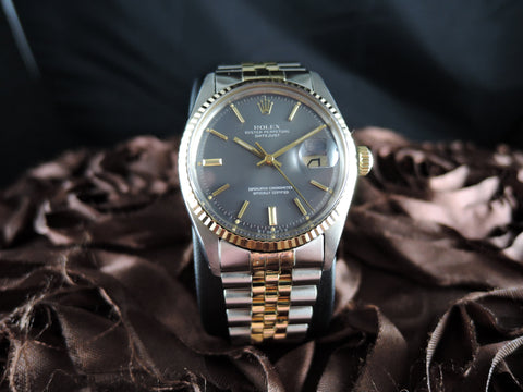 1973 Rolex DATEJUST 1601 2-Tone SS/Gold ORIGINAL Dark Grey Sigma Dial