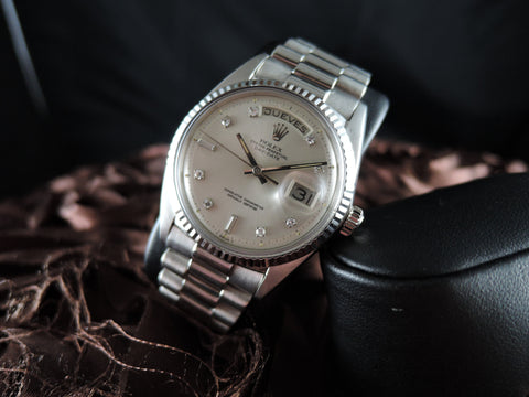 1970 Rolex DAY-DATE 1803 18K White Gold with Original Silver Diamond Dial