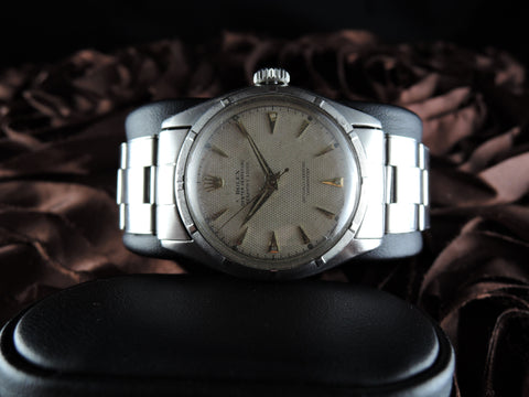 1951 Rolex OYSTER PERPETUAL 6085 White Waffle Dial signed 'Serpico y Laino' Rivet Band