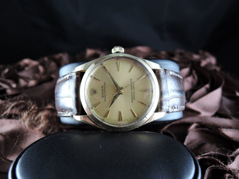 1947 Rolex OYSTER PERPETUAL 1014 14K Gold Capped Original Gold Dial