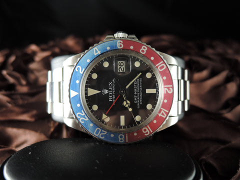 1975 Rolex GMT MASTER 1675 Pepsi with Nice Patina with Oyster Band