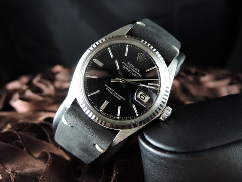 1970 Rolex DATEJUST 1601 SS with Glossy Black Dial