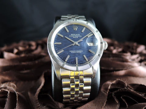 1969 Rolex OYSTER DATE 1501 with Engine Turned Bezel and Original Blue Linen Dial
