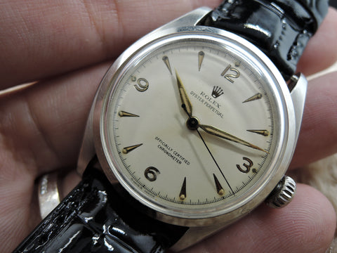 1952 Rolex SEMI-BUBBLEBACK 6084 Stainless Steel with Explorer Dial