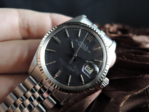1973 Rolex DATEJUST 1601 SS ORIGINAL Matt Black SIGMA Dial with Jubilee Band