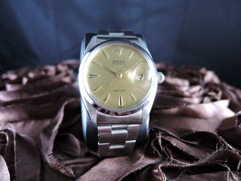 1946 Rolex OYSTER DATE 6694 Original Vintage Gold Dial with Dauphine Hands