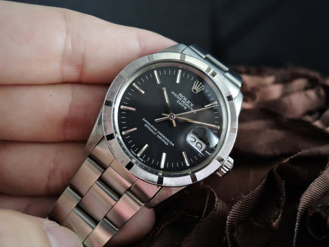 1968 Rolex OYSTER DATE 1501 with Engine Turned Bezel and Original Black Dial