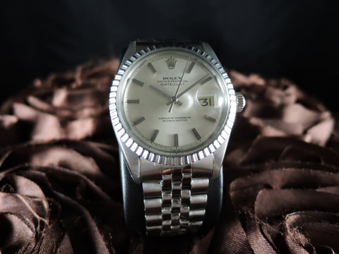 1977 Rolex DATEJUST 1603 SS ORIGINAL Silver Non Lume Dial with Jubilee Band