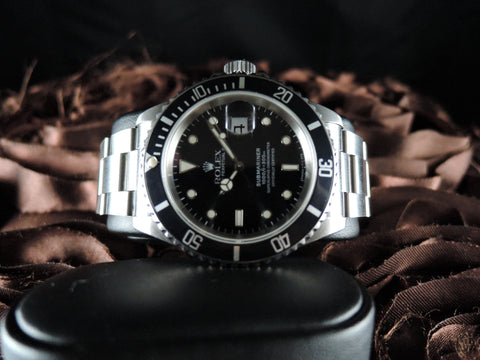 1991 Rolex SUBMARINER 16610 Black Dial Black Bezel with Box and Paper