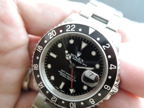 2002 Rolex GMT MASTER 2 16710 Black Bezel (No Hole Case)