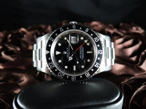 1998 Rolex GMT MASTER 2 16710 Black Bezel with BOX and PAPER