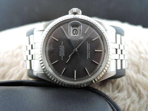 [1970] Rolex DATEJUST 1601 SS ORIGINAL Dark Grey Dial with Box and Paper