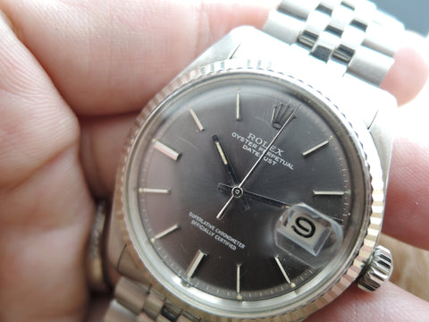 1970 Rolex DATEJUST 1601 SS ORIGINAL Dark Grey Dial with Box and Paper