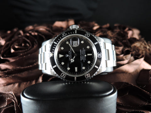 2002 Rolex SUBMARINER 16610 Black Dial Black Bezel with Box and Paper