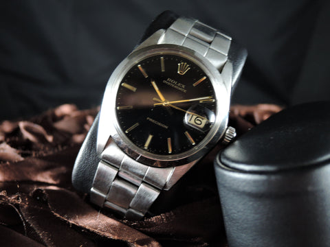 1967 Rolex OYSTER DATE 6694 Original Glossy Black Dial with Gold Hands