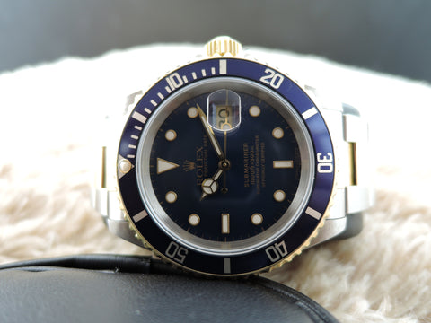 1998 Rolex SUBMARINER 16613 2-Tone Blue Dial with Box and Paper