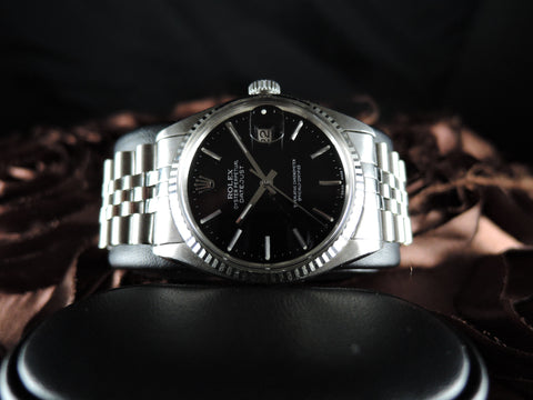 1979 Rolex DATEJUST 16014 Stainless Steel Glossy Black Dial