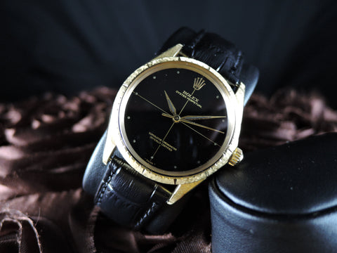 "1970 Rolex OYSTER PERPETUAL 1009 ""Zephyr"" 18K Gold Glossy Gilt Dial with Papers"