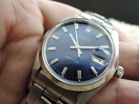 1980 Rolex OYSTER DATE 6694 Glossy Blue Dial with Folded Oyster Band