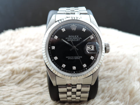 1970 Rolex DATEJUST 1601 SS Black Diamond Dial with Folded Jubilee