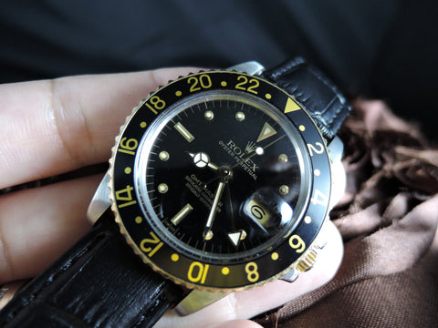 1982 Rolex GMT MASTER 2-Tone 16753 Black Nipple Dial with Papers