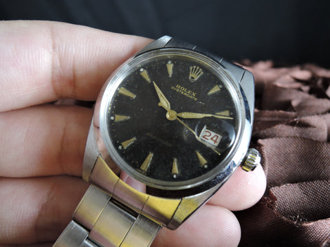 1950 Rolex OYSTER DATE 6694 Original Gilt Tropical Dial with Rivet Band