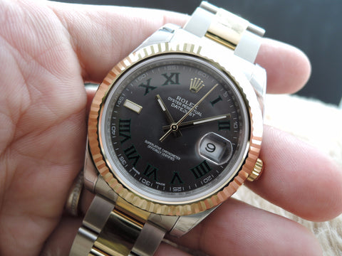 [NEW] Rolex DATEJUST 2 116333 2-Tone with Grey/Green Roman Full Set