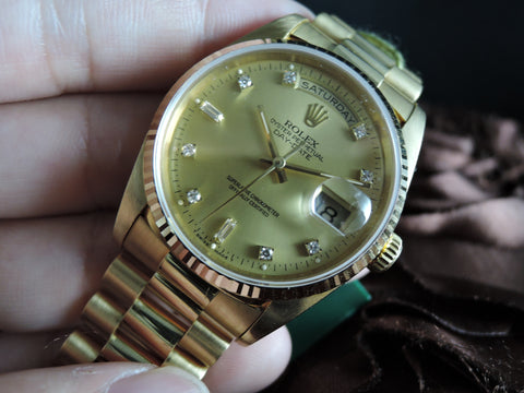 1994 Rolex DAY-DATE 18238 18K Gold with Original Gold Diamond Dial