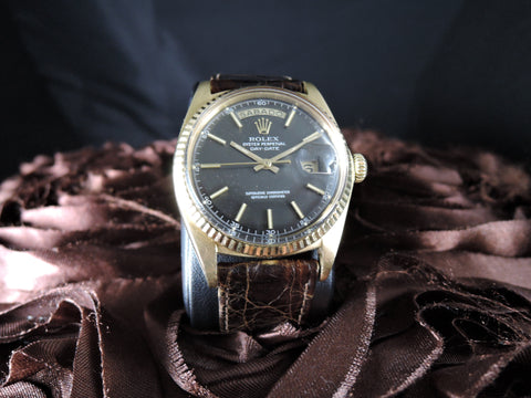 1970 Rolex DAY-DATE 1803 18K Gold with Original Matt Dark Greyish Brown Dial