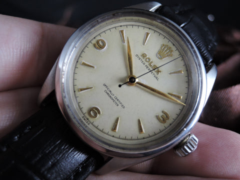 1953 Rolex BUBBLEBACK 6284 with Applied Gold Raised 3-6-9 Chapter Ring Dial
