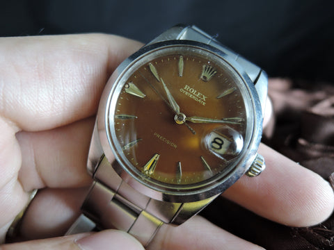 1965 Rolex OYSTER DATE 6694 Original Gilt Perfect Tropical Chocolate Dial