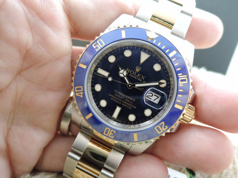 [NEW] Rolex SUBMARINER 116613LB 2-Tone Blue Dial Ceramic Bezel Full Set