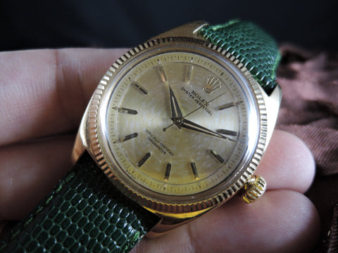 1945 Rolex OYSTER PERPETUAL 6502 18K YG with 2-Piece Dial (36mm)