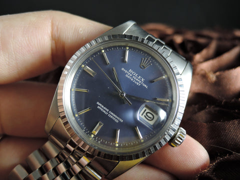 1972 Rolex DATEJUST 1603 SS ORIGINAL Matt Dark Blue Dial with Jubilee Band