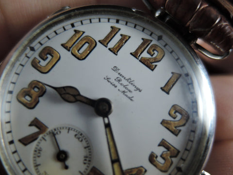 1920 Rolex Vintage DUNKLINGS with Original Enamel White Dial with Arabic Numerals