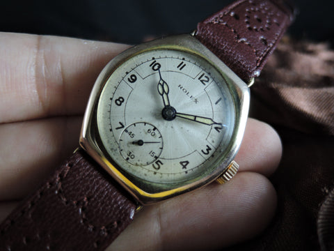 1940 Rolex 9k Rose Gold with Silver Arabic Dial and Sub Seconds