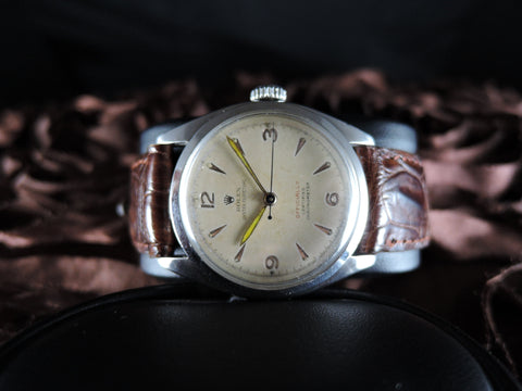 "1952 Rolex OYSTER PERPETUAL 6084 Stainless Steel with Red ""Officially"""