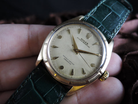 1950 Rolex OYSTER PERPETUAL 6085 10K Yellow Gold with Creamy Dial